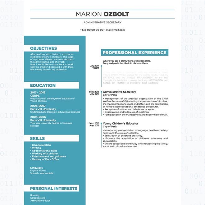 Unstoppable Resume site - Marion