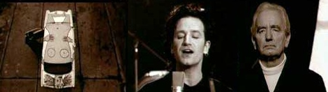 Bono, father and Trabant in U2 One music video