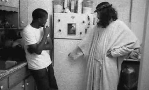 Jesus and Kanye West look in the fridge
