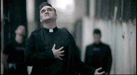 Morrissey as priest in music video