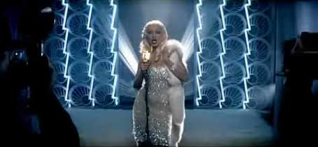 Christina Aguilera in silver outfit in Aint No Other Man music video
