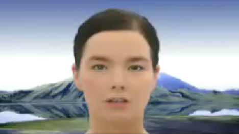 Bjork at end of Earth Intruders music video
