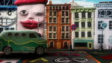 Bus drives through animated street in The Bees music video