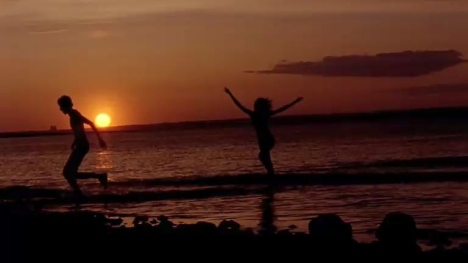 Sunset sea shot in Sigur Ros Gobbledigook music video