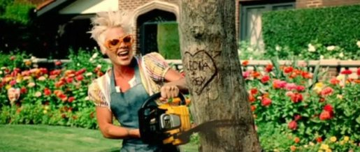 Pink with chainsaw