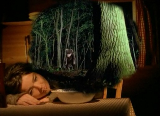 Bjork dreams of Bear in Human Behaviour music video