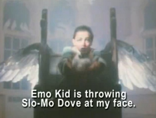 Emo Kid throws bird in Total Eclipse of the Heart music video