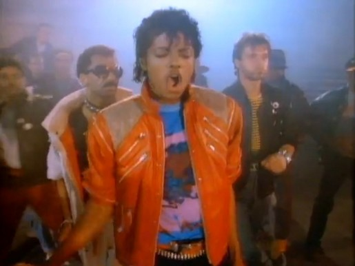 Michael Jackson with Michael Peters and Vince Paterson in Beat It music video