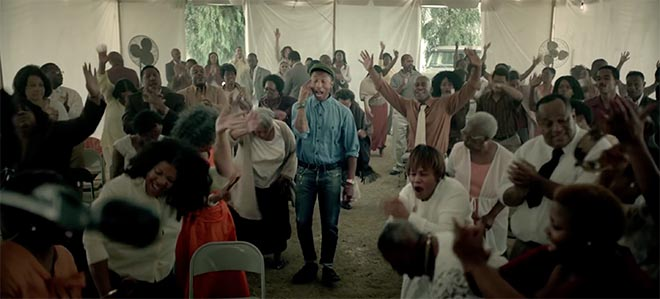 Reival meeting in Pharrell Williams Freedom music video