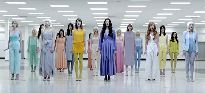Women with wigs in Pharrell Williams Freedom music video