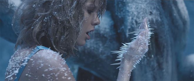 Taylor Swift with ice in Out Of The Woods music video