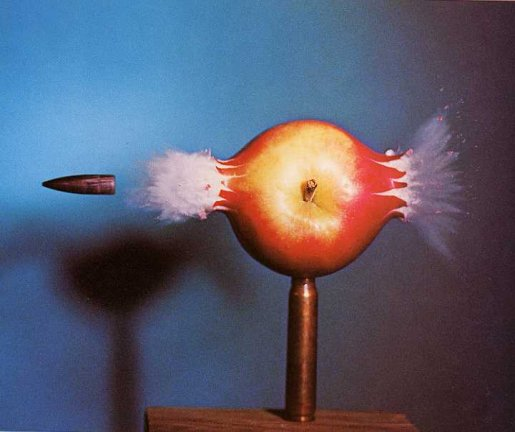 Apple with bullet in photograph by Harold Edgerton