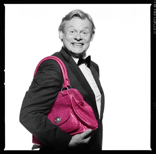 Martin Clunes with Pink Handbag for Cancer Research UK