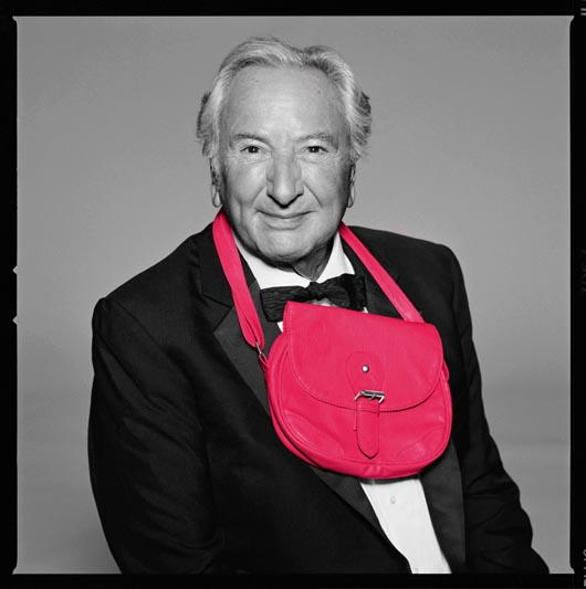 Michael Winner with Pink Handbag for Cancer Research UK