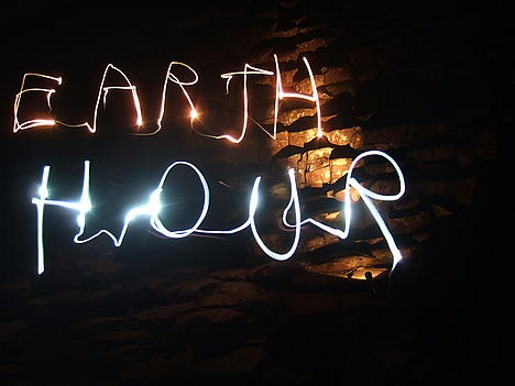 Earth Hour Light writing at Giant's Causeway
