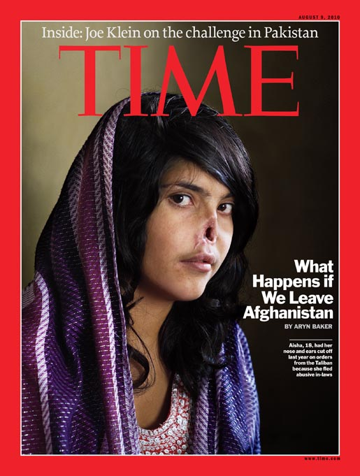 Jodi Bieber photograph of Bibi Aisha on cover of Time Magazine