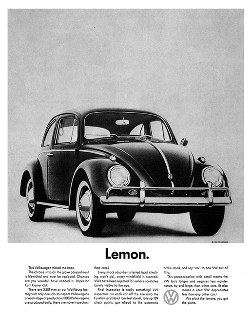 Volkswagen Lemon print advertisement