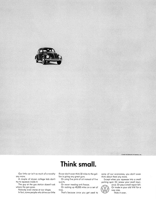 Volkswagen Think Small print advertisement