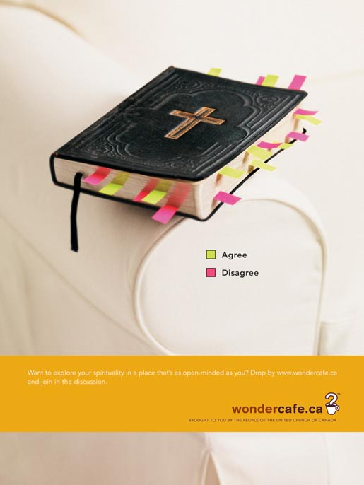 Bible in Wondercafe ad