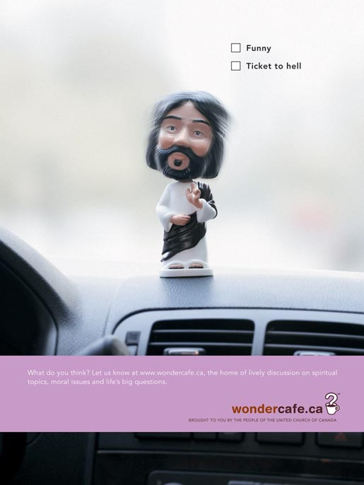 Jesus Bobblehead in Wondercafe ad