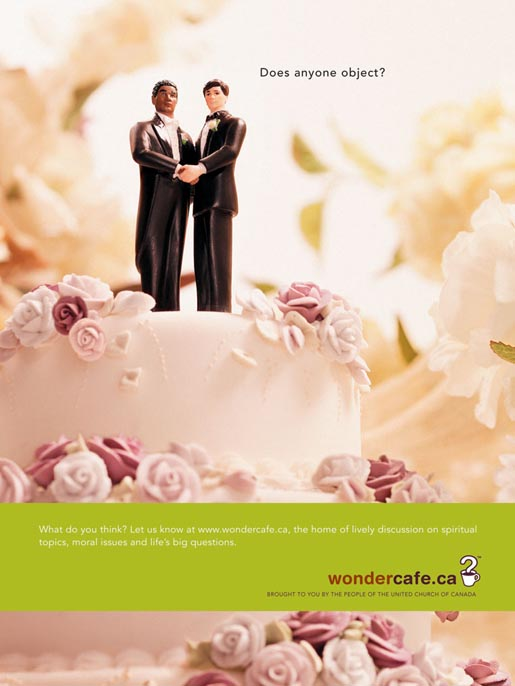 Men on wedding cake in Wondercafe ad