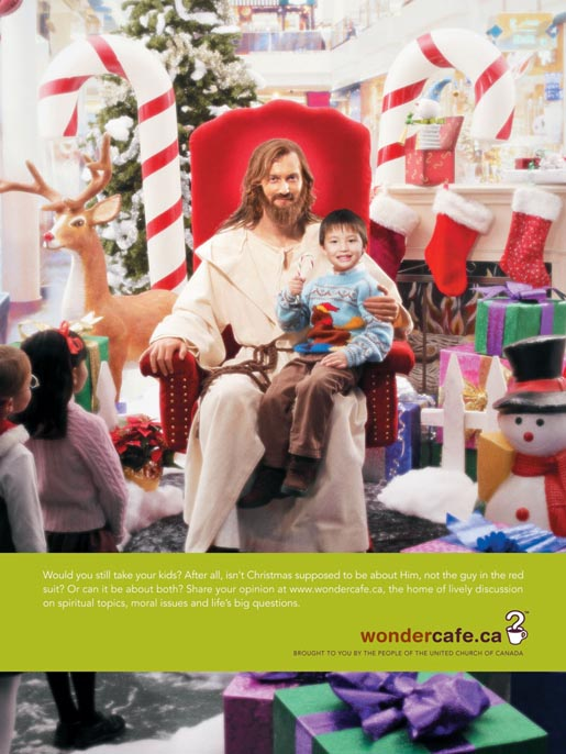 Jesus at the Mall in Wondercafe ad