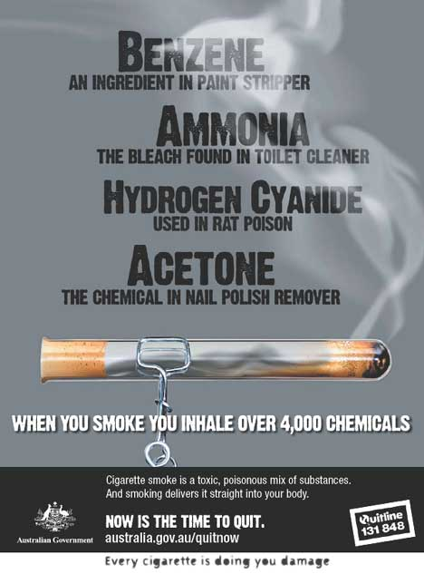 Poster aimed at teenagers  - chemicals in cigarettes
