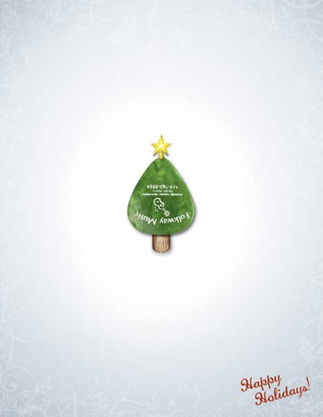 Guitar pick as Christmas tree