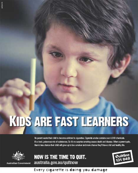 Poster aimed at parents  - Kids are fast learners