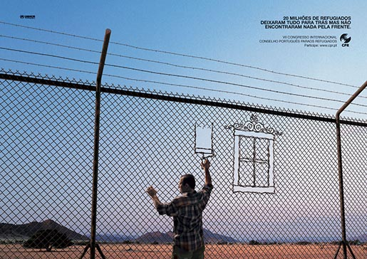 Refugee imagines a window in the detention camp fence