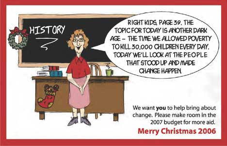 History lesson on World Vision Christmas card