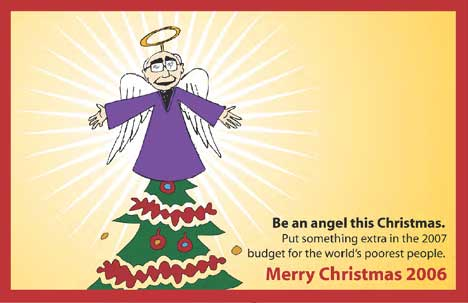 John Howard as an angel on World Vision Christmas card