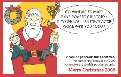 Santa responds to Howard and Rudd request for end of world poverty on World Vision Christmas card