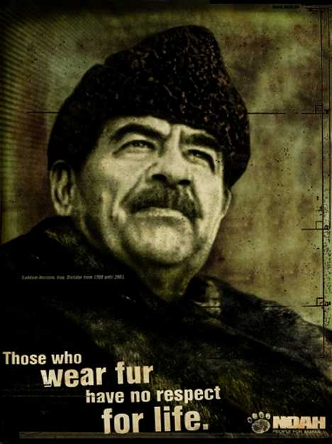 Hussein wearing fur