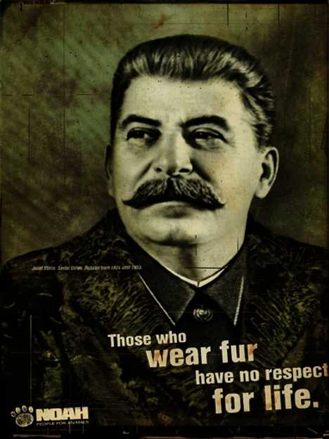 Stalin wearing fur
