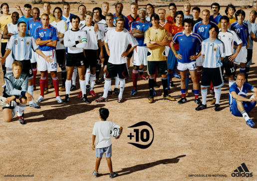 Print advertisement for Adidas Impossible Team campaign