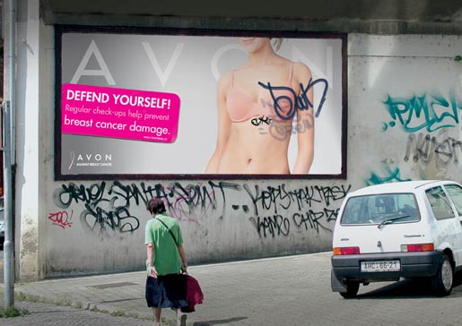 Avon outdoor campaign with graffiti