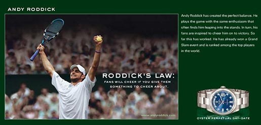 Andy Roddick in Rolex Ad