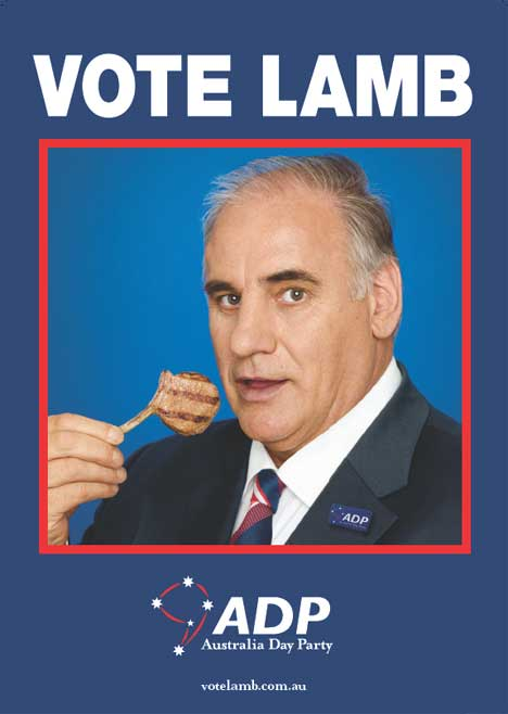 Sam Kekovich says Vote Lamb in MLA poster