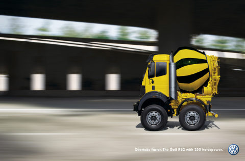 Concrete truck in Volkswagen Shortcut campaign