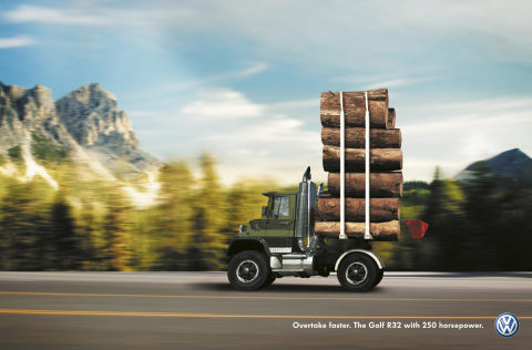 Log truck in Volkswagen Shortcut campaign