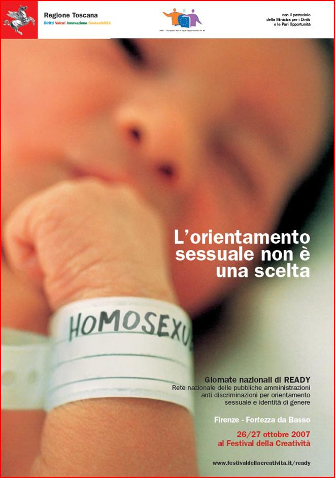 Baby with Homosexuel on identity tag