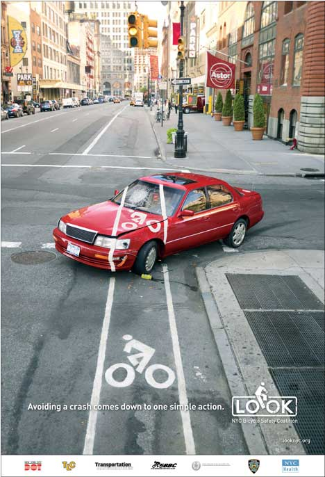 Bicycle safety poster featuring car