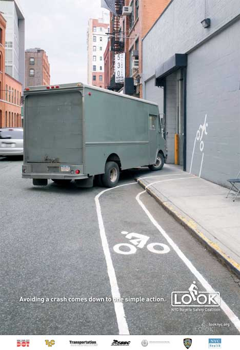 Bicycle safety poster featuring truck