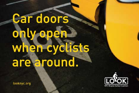 Bicycle safety postcard - Car doors open only when bicycles are around