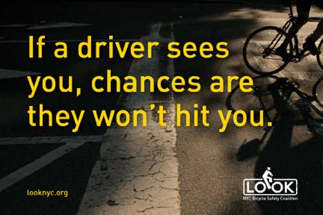 Bicycle safety postcard - If a driver sees you the chances are they won't hit you