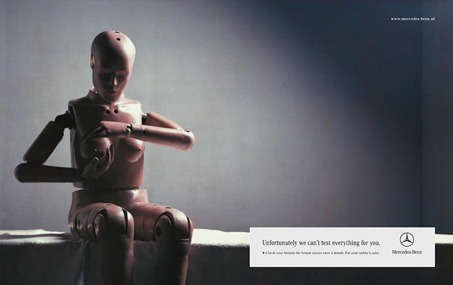 Crash test dummy does breast cancer check in Mercedes print ad