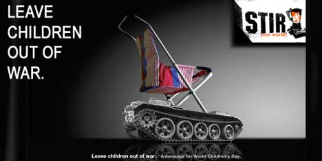 Stir World Vision poster - Leave children out of war