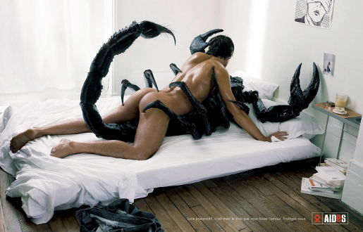 Man makes love to a scorpion in AIDS print advertisement from France