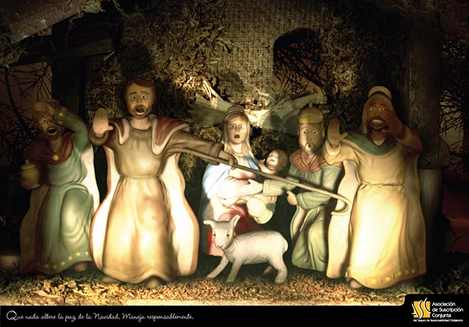 ASC Nativity Scene in road safety print advertisement